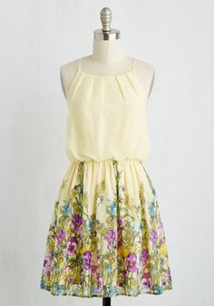 Meadows on my Mind Dress. This pastel yellow dress will leave you pondering pansies and dreaming of daffodils. #multi #modcloth