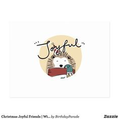 Christmas Joyful Friends | Winter Is Coming Postcard Christmas Bunny, Winter Is Coming, Joyful, Party Hats, Funny Cute, Postcards, Festive, Art Pieces, Greeting Cards