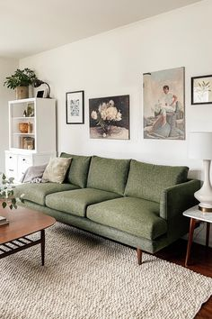 Burrard Forest Green Sofa For those that love an angular mid-century look. The Burrard Sofa in Forest Green brings a sense of calmness to your living room. Photo by Chelsea Mohrman. Room Design, Living Room Sofa, Living Room Furniture, Green Sofa, Cheap Home Decor, Home Decor, House Interior, Green Sofa Living, Living Room Designs