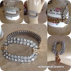 Large Statement Bracelet Vintage Repurposed Rhinestone Shoe Clip 2-Tone Gold Recycled Watch Band Bling WishAnWearJewelry Assemblage OOAK XO by WishAnWearJewelry on Etsy