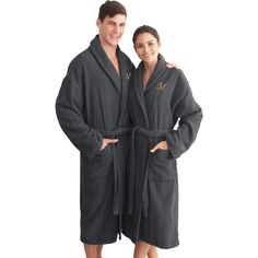 Authentic Hotel and Spa Charcoal Grey with Blue Monogrammed Herringbone Weave Turkish Cotton Unisex Bath Robe (Small/Medium -V) Linen Store, Herringbone Pattern, M Color, Cotton Style, Midnight Blue, Grey And White, Black, Unisex, Stylish