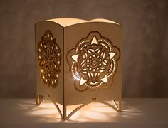 Laser Cut Tabletop Lantern Mandala Night Light Accent Lamp