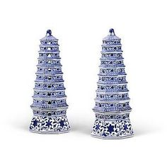 "PAIR of BLUE & WHITE PORCELAIN HEAVEN TOWERS, Chinoiserie, Asian Decor, 18.5"" H"