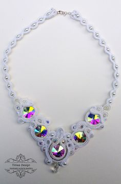 Handmade soutache white necklace  By Tímea Design - Bánfi Tímea