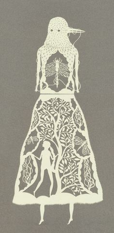 more amazing papercuts by Elsa Mora.. I love the bird head and the little girl lost inside of a tree skirt!