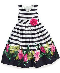 Marmellata Kids Dress, Little Girls Stripe Floral Border Print Sundress - Kids Special Occasion - Macy's