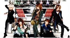 Visual kei band D=OUT adorning their new look.