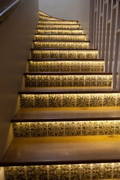 Custom Tile Stairs Risers Design, Pictures, Remodel, Decor and Ideas