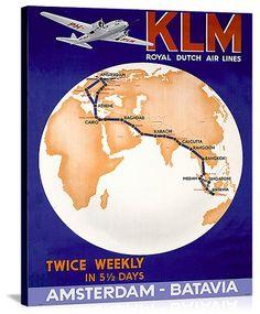 KLM Royal Dutch Airlines Vintage Printed On Canvas