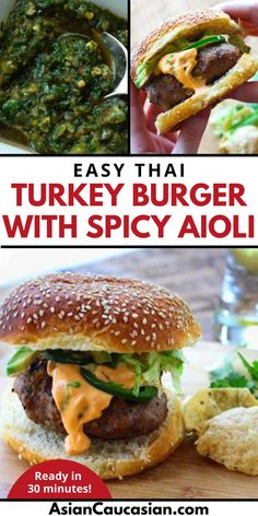 Light up your BBQ and get grillin' with these juicy Thai Turkey Burgers! They couldn't be easier to make, and they are filled with such awesome Asian flavors. Top it off with a slightly spicy aioli sauce and lots of other yummy toppings that will make the perfect burger bite! Spice up your summer burger recipe game with this Asian fusion recipe masterpiece! Burger Bite, Burger Recipes, Vegetarian Recipes, Summer Burgers, Spicy Aioli, Aioli Sauce, Easy Summer Meals, Asian Recipes, Ethnic Recipes