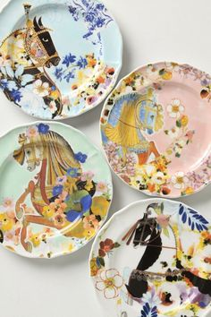 Vintage hand-painted Carousel plates!