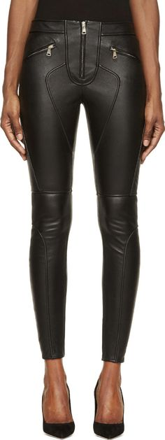 Givenchy Black Leather Gold Zip Skinny Trousers | SSENSE
