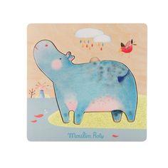 Puzzle encastrable hippopotames Les Papoum Moulin Roty