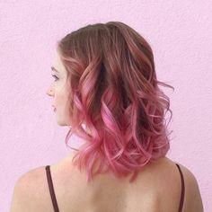 Pink ombre on dark blonde