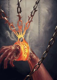 Grilletes del Sufrimiento by stickerb on DeviantArt <<<Shackles of Suffering by stickerb on DeviantArt Fantasy Magic, Dark Fantasy Art, Fantasy Artwork, Fantasy World, Dark Art, Fantasy Inspiration, Story Inspiration, Character Inspiration, Dnd Characters