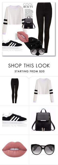 """Sem título #287"" by bear-pretty ❤ liked on Polyvore featuring Topshop, adidas, Lime Crime and Alexander McQueen"