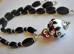 Lampwork Necklace Floral Lampwork Bead Necklace  Black Agate