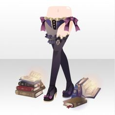 Magic Library Spell Book and Knee High Bottoms ver.A black Cocoppa Play, Anime Outfits, Bookends, Magic, Decor, Clothes, Black, Outfits, Decoration