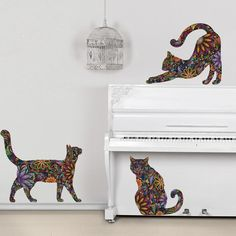 Cat Wall Sticker Trio - Set of 3 Floral Cat Decals, Extra Small, As Shown - contemporary - Kids Wall Decor - My Wonderful Walls Wall Stickers Cats, Face Stickers, Wall Decal Sticker, Cat Decals, Vinyl Decals, Restoration Hardware, Love Wall, Cat Wall, Wall Signs