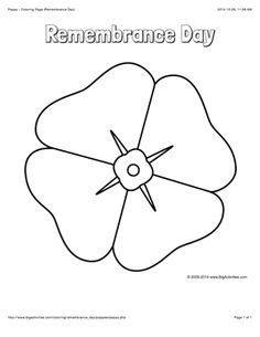remembrance day coloring page with a large poppy to color