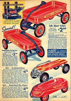 Vintage Toy Wagons Advertisement, I love the Buckboard Racer.