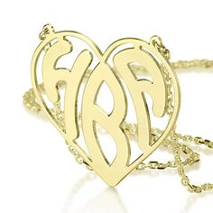 Heart Framed Gold Plated Silver Monogram Necklace FREE SHIPPING $51.40 http://www.messageonanecklace.com/monogram-necklaces.html