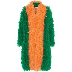 GucciTwo-tone Mohair-blend Coat (€3.695) ❤ liked on Polyvore featuring outerwear, coats, emerald, oversized cocoon coat, orange coat, gucci, oversized coat and gucci coat