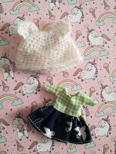 vestido y gorro para petite blythe doll dress and hat