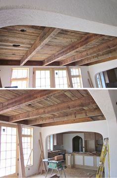 Ideas woodworking projects furniture dining rooms barn wood for 2019 Custom Woodworking, Woodworking Projects, Barn Wood Projects, Pallet Projects, Pole Barn Homes, Ceiling Design, Ceiling Ideas, Wood Ceilings, Custom Furniture