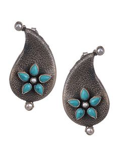 Buy The Stone Age Parampara Elevate your look with spectacular silver-tone stone-beaded jewelry for over-the-top statement Online at Jaypore.com Pearl Jewelry, Beaded Jewelry, Pearl Earrings, Drop Earrings, Silver Earrings Online, Shopping Coupons, Backpack Brands, Stone Age, Tribal Earrings