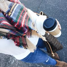 Plaid scarf, white free people sweater, Sam Edelman brown ankle boots, Louis Vuitton neverfull