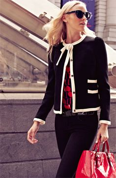 Milly 'Marizia' Bow Detail Jacket