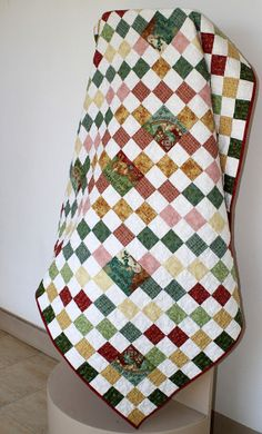 Lap Quilt Throw blanket Toddler quilt in red by RedNeedleQuilts,