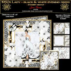 1950s Lady - Black & White Evening Dress by June Young A three-sheet mini-kit for an 8 x 8 card front, featuring a lady in a Black & White embroidered Evening Dress, in a multi-layered effect frame embellished with corner floral sprays and toning butterflies. The first sheet has the card front and matching gift card, sheet 2 has decoupage, and five greetings panels, two are blank for your own use. Sheet three has a matching insert for your card and two small toppers which can be used inside…