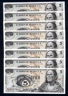 Banco De México Josefa Ortiz $5 pesos UNC Serie 1AD #Consecutivos 8 Piezas P-62B