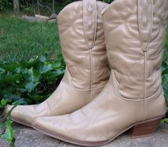 cowboy boots light tan short boot half boot by OutOfMyMamasAttic, $39.99