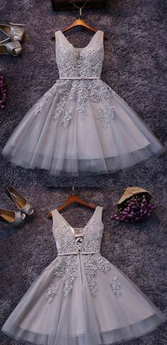Elegant V-neck Light Gray Short Prom Dress, Sweet Mini Lace Appliques Pearl Tulle Prom Dress Prom Dresses Short Prom Dresses Appliques Prom Dresses V Neck Prom Dresses Prom Dresses Lace Short Homecoming Dresses Elegant Homecoming Dresses, Mermaid Prom Dresses Lace, Prom Dresses For Teens, Dresses Short, Prom Dresses 2018, Tulle Prom Dress, Lace Evening Dresses, Cheap Dresses, Party Dresses