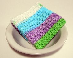 This large, pastel striped hand knit cotton washcloth (dishcloth, dust cloth) will remind you of days at Grandmas house. Made of 100% cotton yarn,                                                                               More