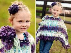 Mohair Poncho with Big Dahlia Flower Headband Crochet Pattern