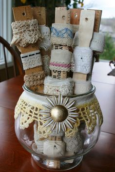Wrap lace or trim around rulers and paint sticks and place in a vase