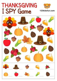 FREE Thanksgiving I Spy - Game for Kids. Printables, Worksheet, Activities for Preschoolers and Homeschooling. Free Thanksgiving Printables, Thanksgiving Activities For Kids, Thanksgiving Coloring Pages, Kids Thanksgiving, Holiday Activities, Pictionary For Kids, Spy Games For Kids, Kids Fun, Fall Preschool Activities