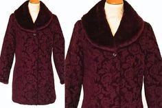 Vintage Tapestry Coat Long Jacket Faux Fur Detachable #clothing #women #jacket @EtsyMktgTool Faux Fur Collar, Faux Fur Jacket, Fur Collars, Long Jackets, Winter Jackets, Mulberry Wine, Purple Tapestry, Detachable Collar, Smart Casual