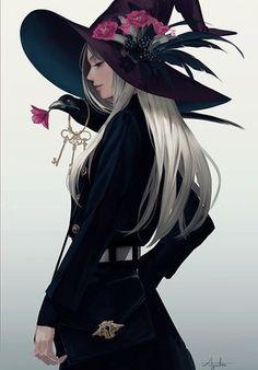 Ayaka Suda on - Anime Girls - halloween art Fantasy Girl, Chica Fantasy, Fantasy Witch, Dnd Characters, Fantasy Characters, Female Characters, Art Anime, Anime Art Girl, Character Portraits
