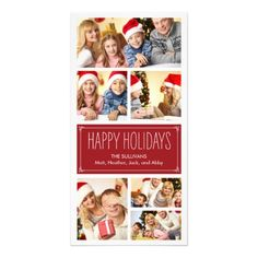 Simple Collage Holiday Photo Cards Custom Photo Card