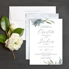 Muted Floral Wedding Invitations by Emily Crawford | Elli