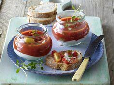 Frischkäse-Tomaten-Töpfchen Rezept Dip Recipes, Brunch Recipes, Appetizer Recipes, Salad Recipes, Chutneys, Vegetarian Recipes, Healthy Recipes, Good Food, Yummy Food