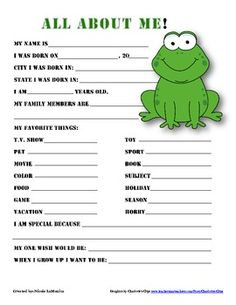 """""""All About Me"""" frog themed student questionnaire Frog Theme Classroom, Classroom Decor, Future Classroom, Beginning Of The School Year, Back To School, Student Questionnaire, Student Of The Month, First Day Of School Activities, Star Students"""
