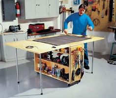 Folding workbench for small spaces, great for home-based business in an apartment!