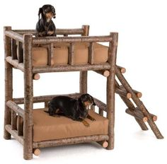 Bunk bed for dogs made from wooden logs