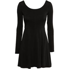 H&M Jersey dress ($13) ❤ liked on Polyvore featuring dresses, black, short flare dress, jersey dresses, short dresses, deep v neckline dress and deep v neck dress